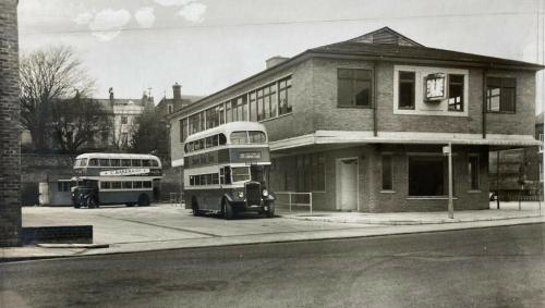Lewes Bus Station, Eastgate Street, E.A. Meyer photograph