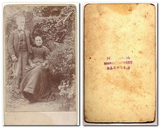 Photographic portrait of a couple, by Hugh Higham, Lewes, c.1890s, and reverse of the carte de visite