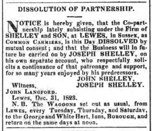 Shelley and Son, Lewes carriers, dissolution of partnership 1824