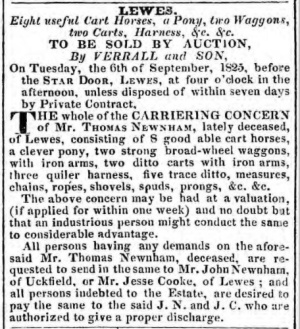 Thomas Newnham's Lewes carrier business for sale, 1825